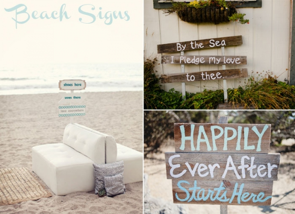lovely beach wedding signs