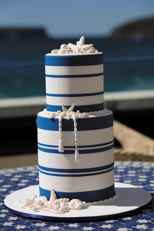 Navy And White Icing Nautical Cake