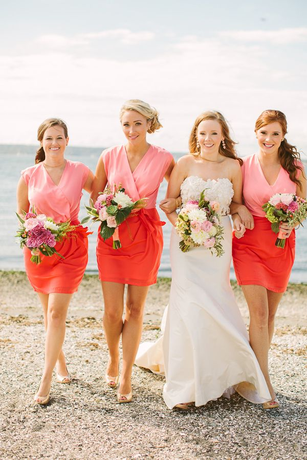 Bridesmaid Dresses. Coral Themed Beach Wedding