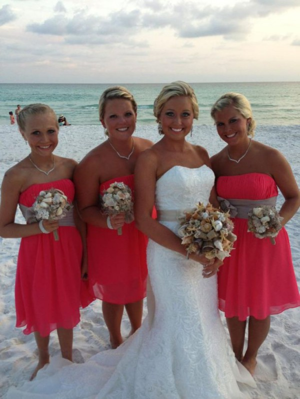 Coral themed beach wedding beach wedding tips for Beach themed wedding dress
