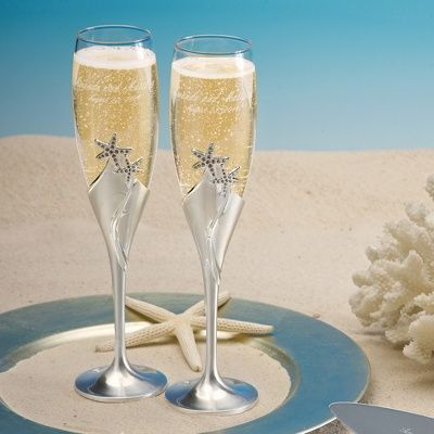Cheers or about the bride s and groom s toasting for Wedding champagne flutes
