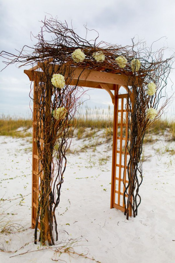 Simple arch decoration with curly willows and white hydrangeas