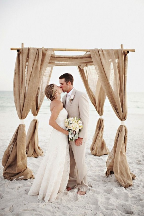 Burlap beach wedding ideas beach wedding tips for Wedding dress for beach ceremony