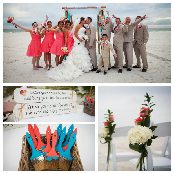 Liz And Matt: Coral And Turquoise Destination Wedding