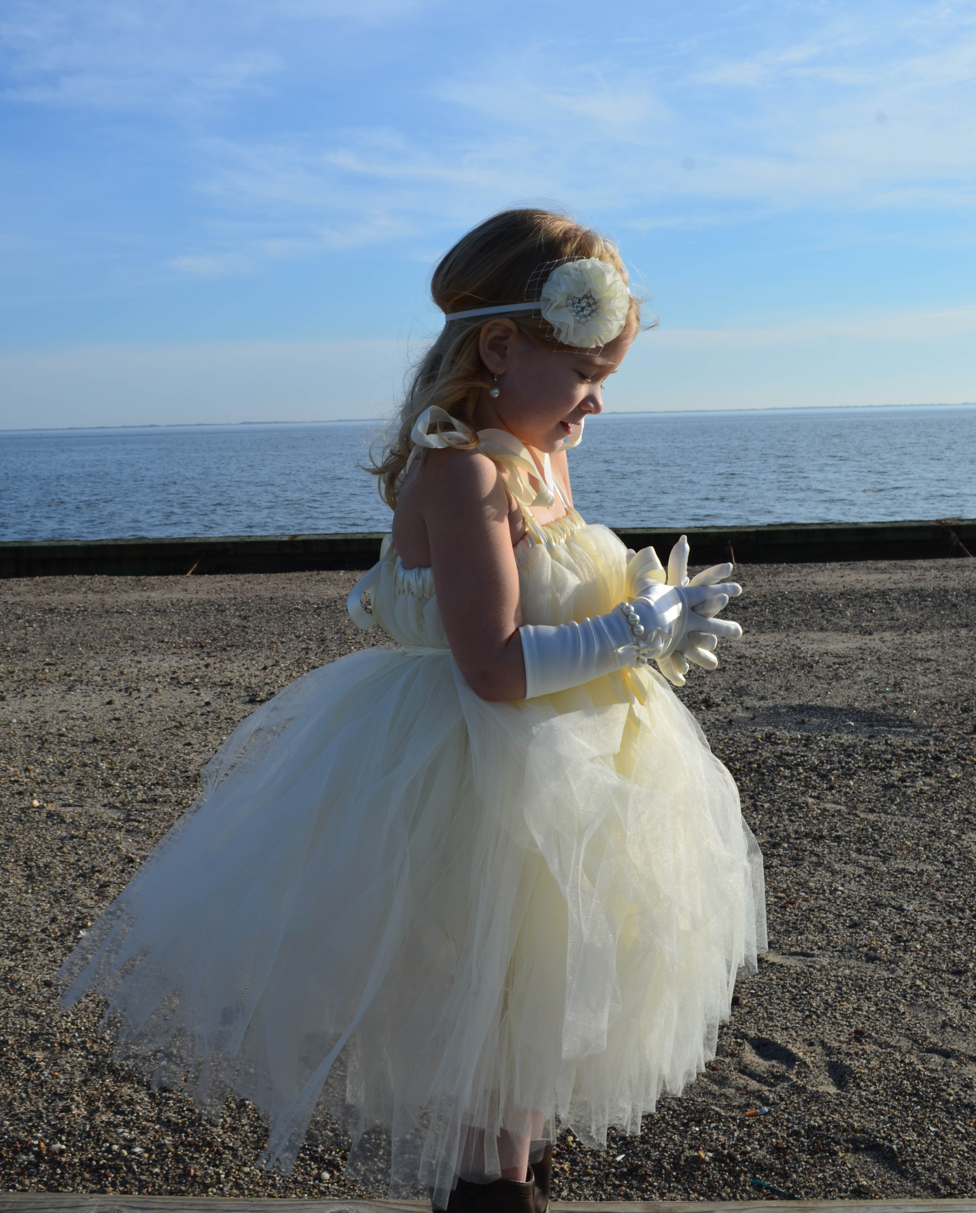 beach tulle flower girl dress