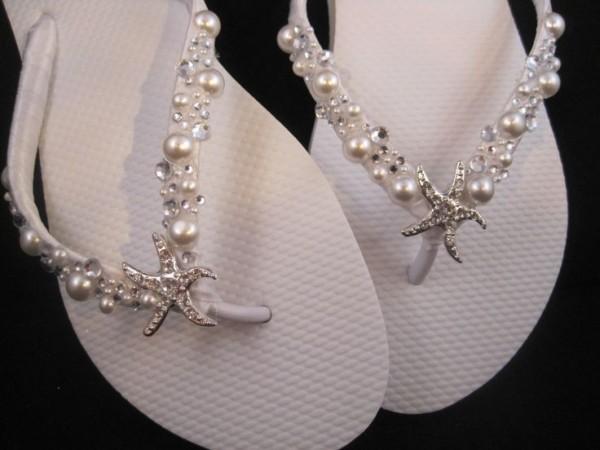 7f8ddf2d67bd0 great beach bridal shoes ideas (8). by DreamingBabies via Etsy. White  shoshanna bridal wedding flip flops ...