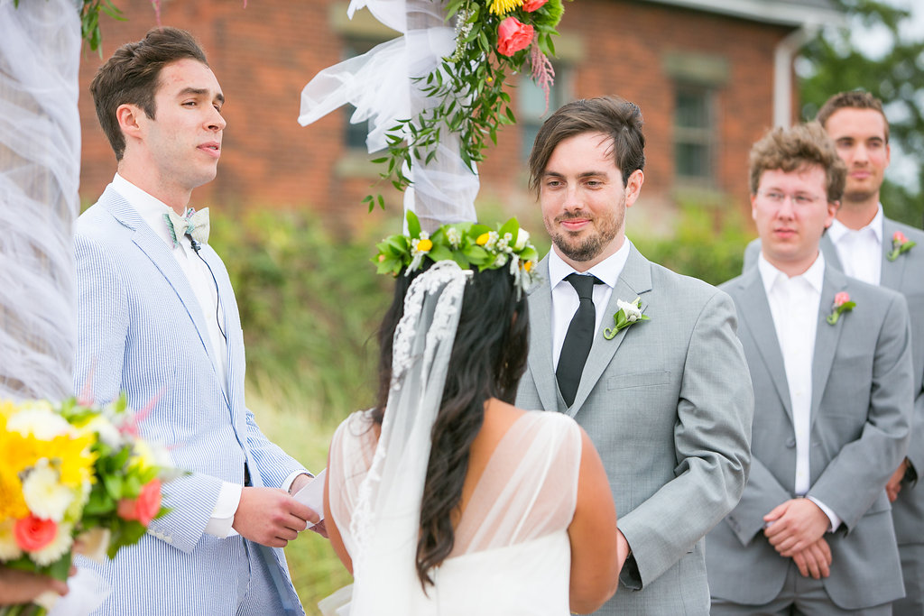The groom giving his vows