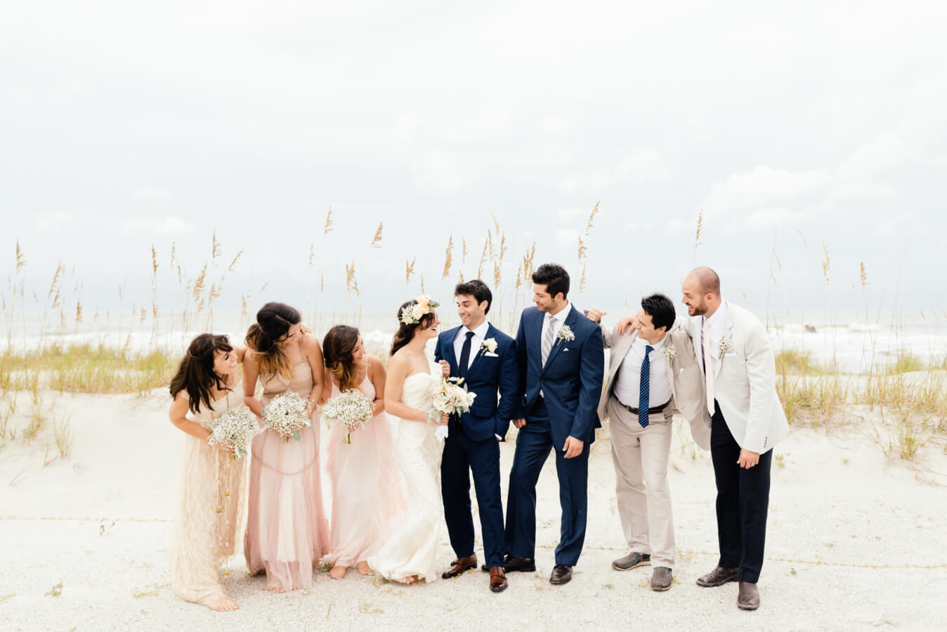 Groom, brie and frineds on the beach