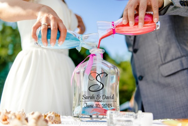 Turquoise And Coral Sand Ceremony Set