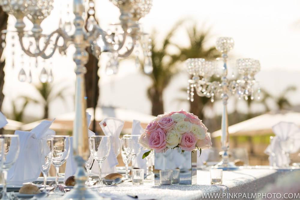 Crystal and roses reception decor