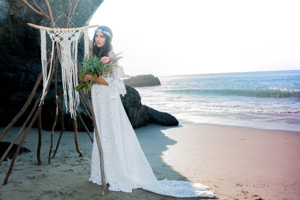 Styling Tips For Embracing A Beach Wedding Theme: Handmade Boho Bridal Gowns For Your Beach Wedding