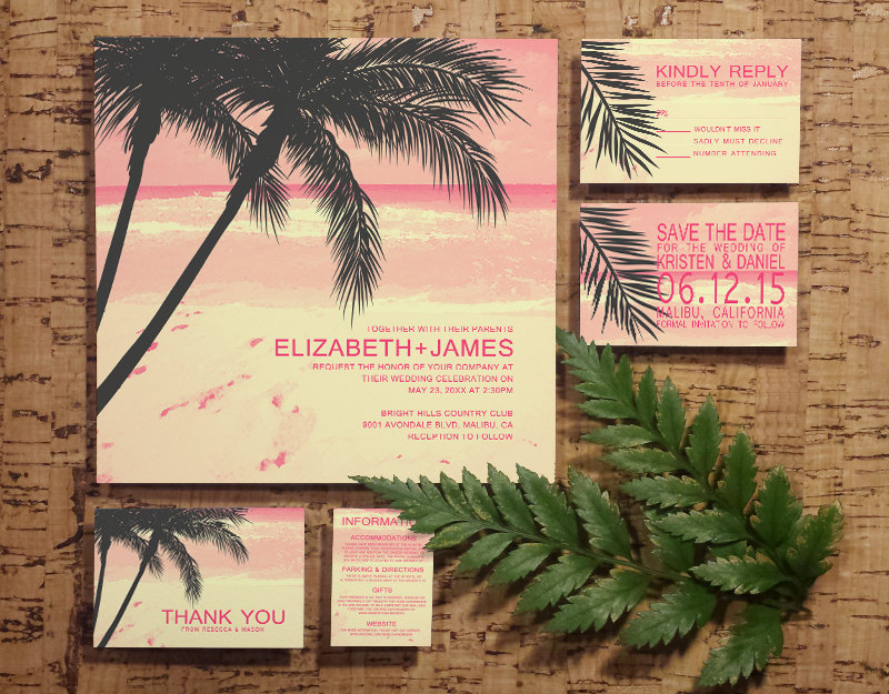Modern palm tree beach wedding invitation set