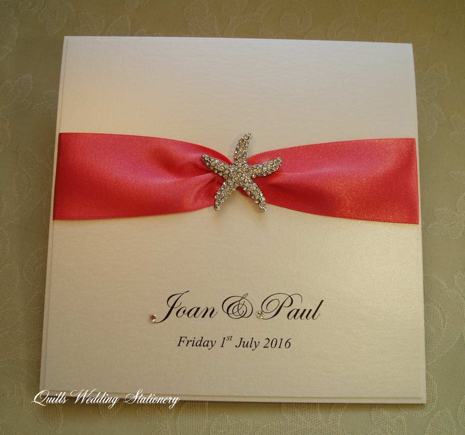 Luxury wedding invitation with crystal starfish