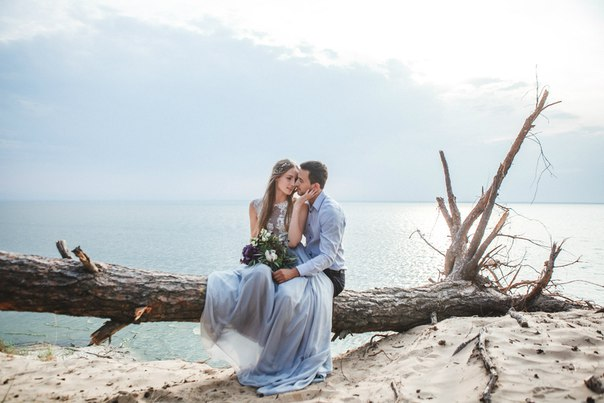 Beautiful wedding couple on the beach