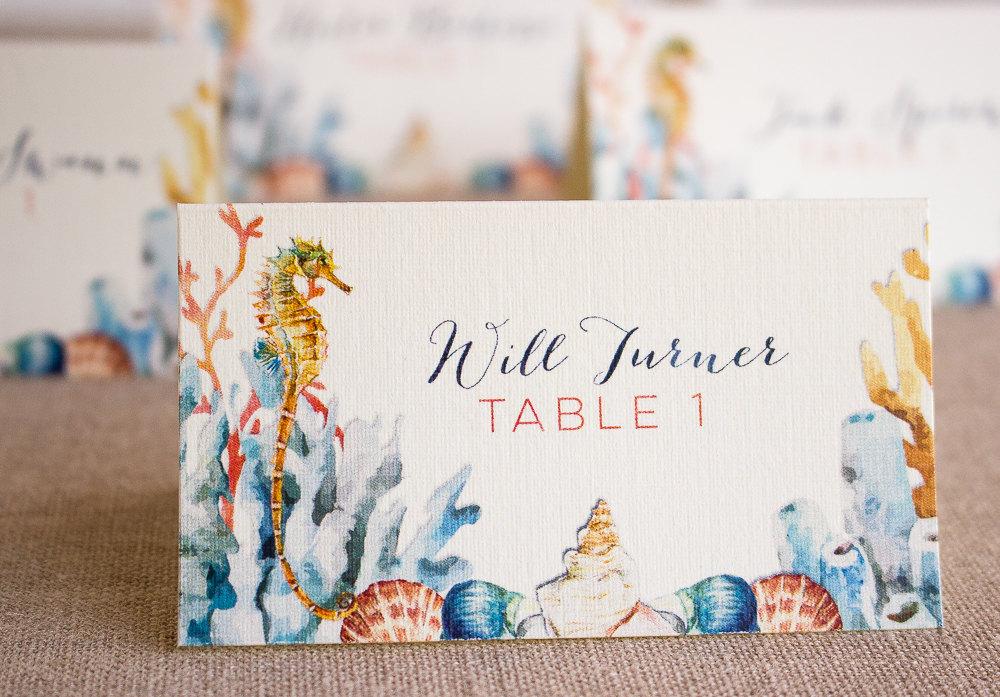 Seahorse Wedding Escort Card