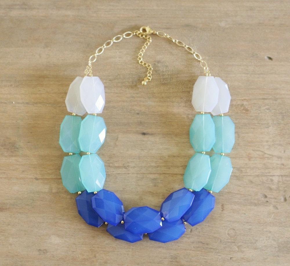 Blue and aqua ombre necklace