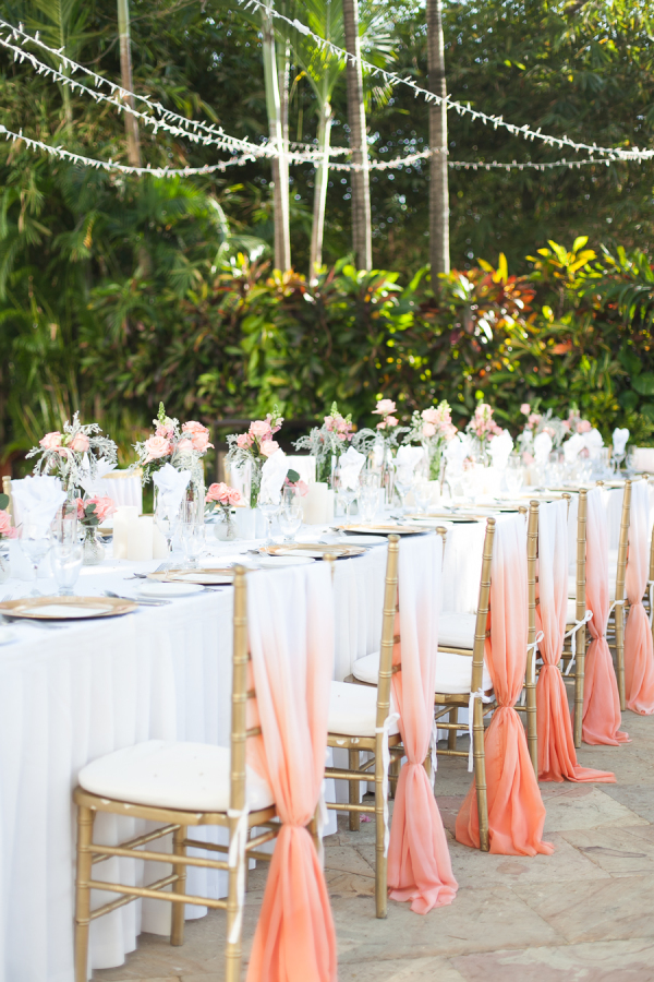 White and coral chair decoration