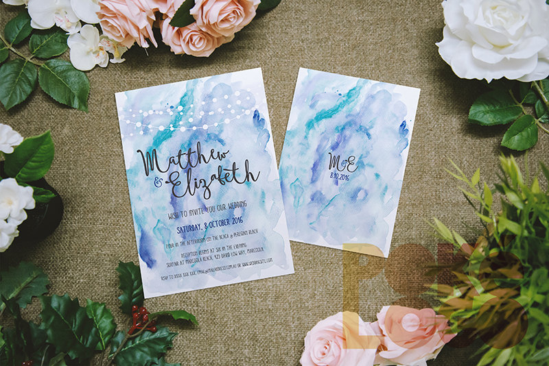 Watercolor printable wedding invitation