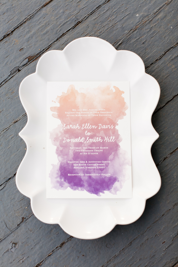 Watercorol ombre invitation