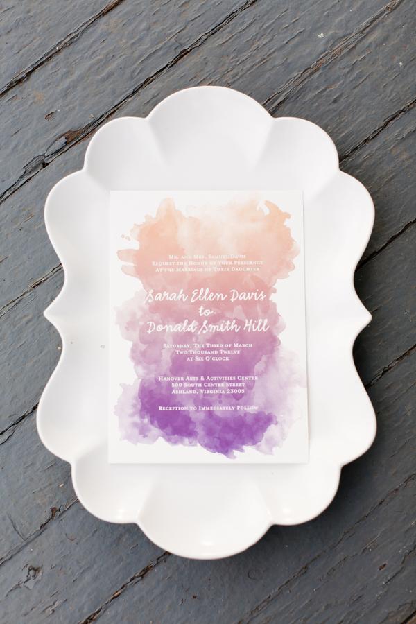 Watercorol ombre invitation