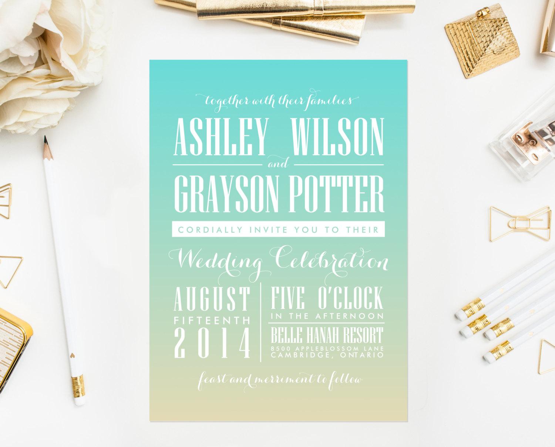 Green ombre wedding invitation