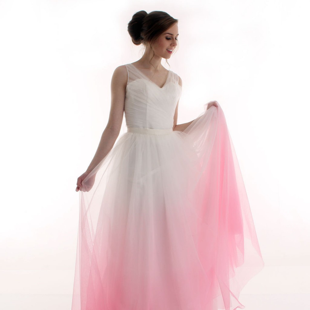 Pink ombre bridesmaid dresses the image for Pink ombre wedding dress