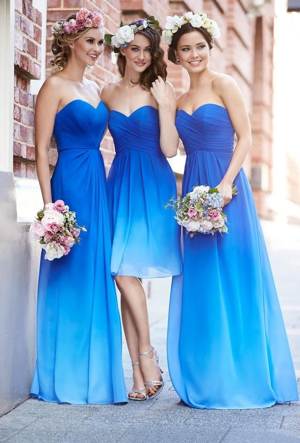 Ombre blue bridesmaid dresses