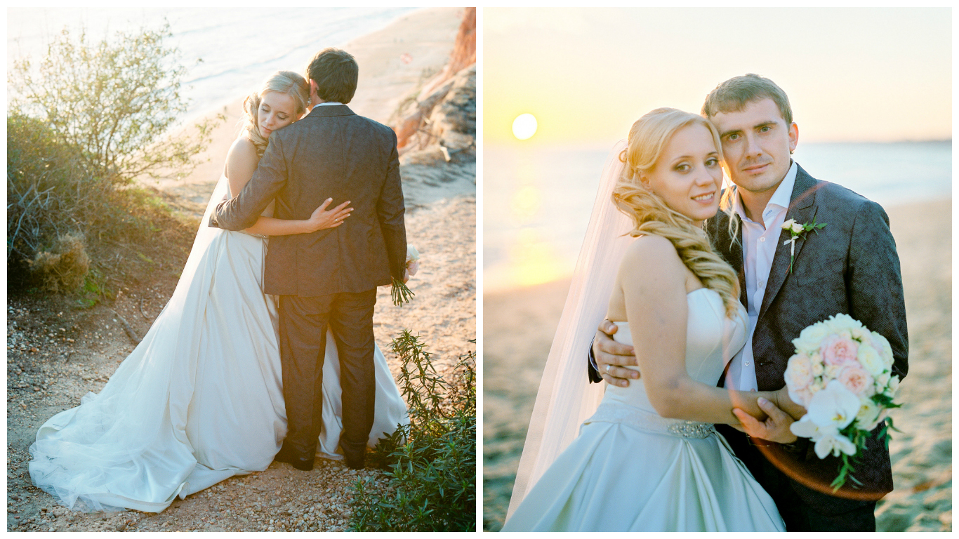 Bride and groom at sunset on beautiful beach in Portugal