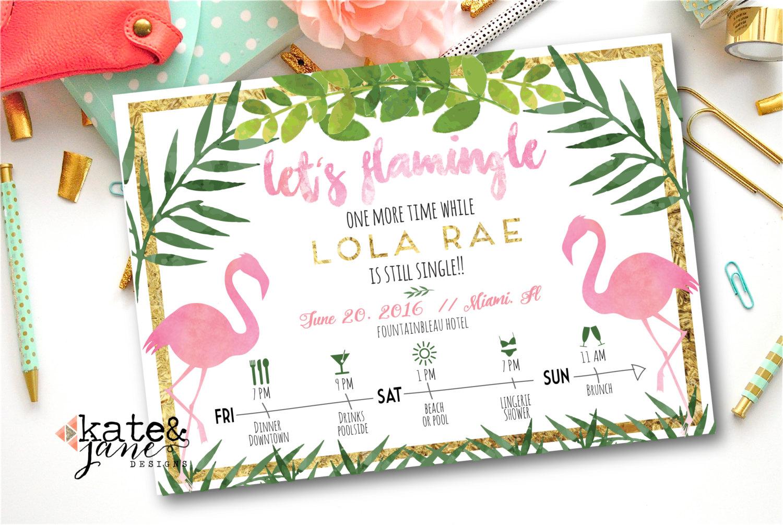 Flamingo-themed Bachelorette Invitation