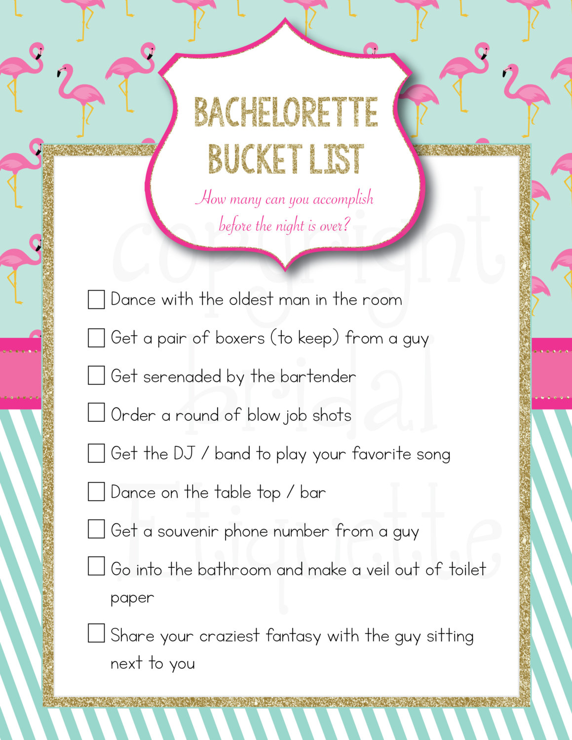 Flamingo-themed Bachelorette Bucket List