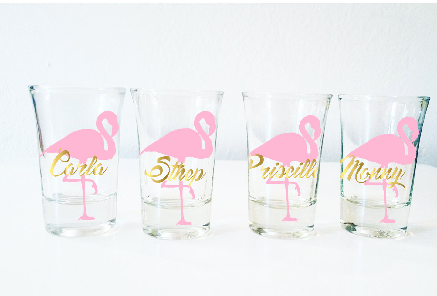 Flamingo-themed Bachelorette Shots Glasses