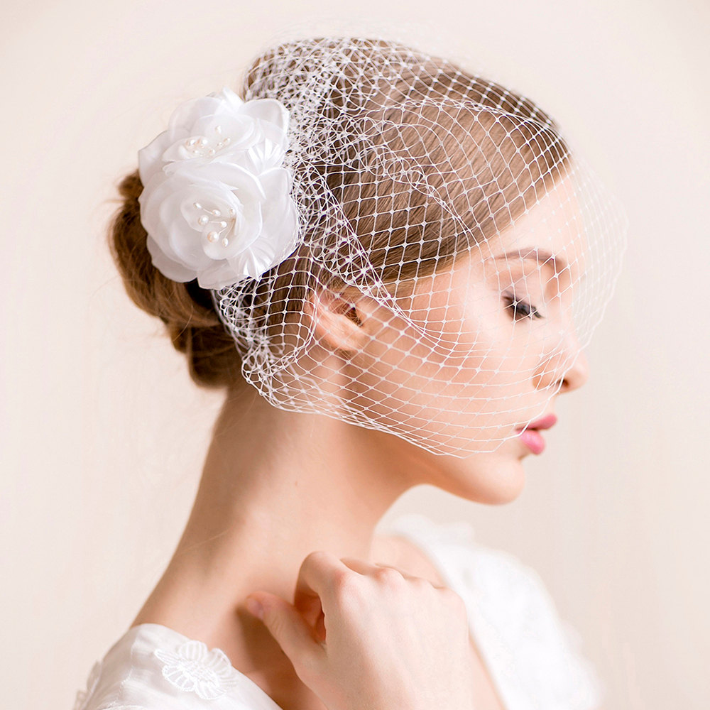 Elegant birdcage bridal veil