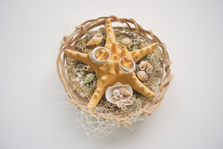 Beach Wedding Starfish Ring Bearer Pillow