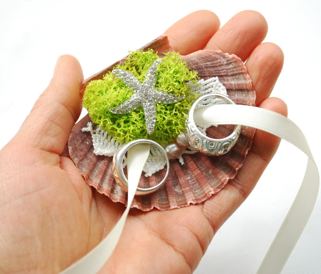 Alternative Seashell Ring Bearer Pillow