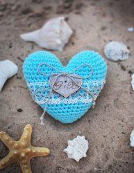 Mint Crochet Ring Pillow