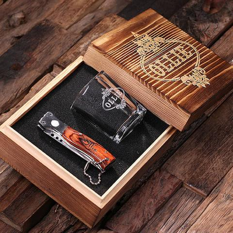A Pocket Knife and Shot Glass Combo Gift Box