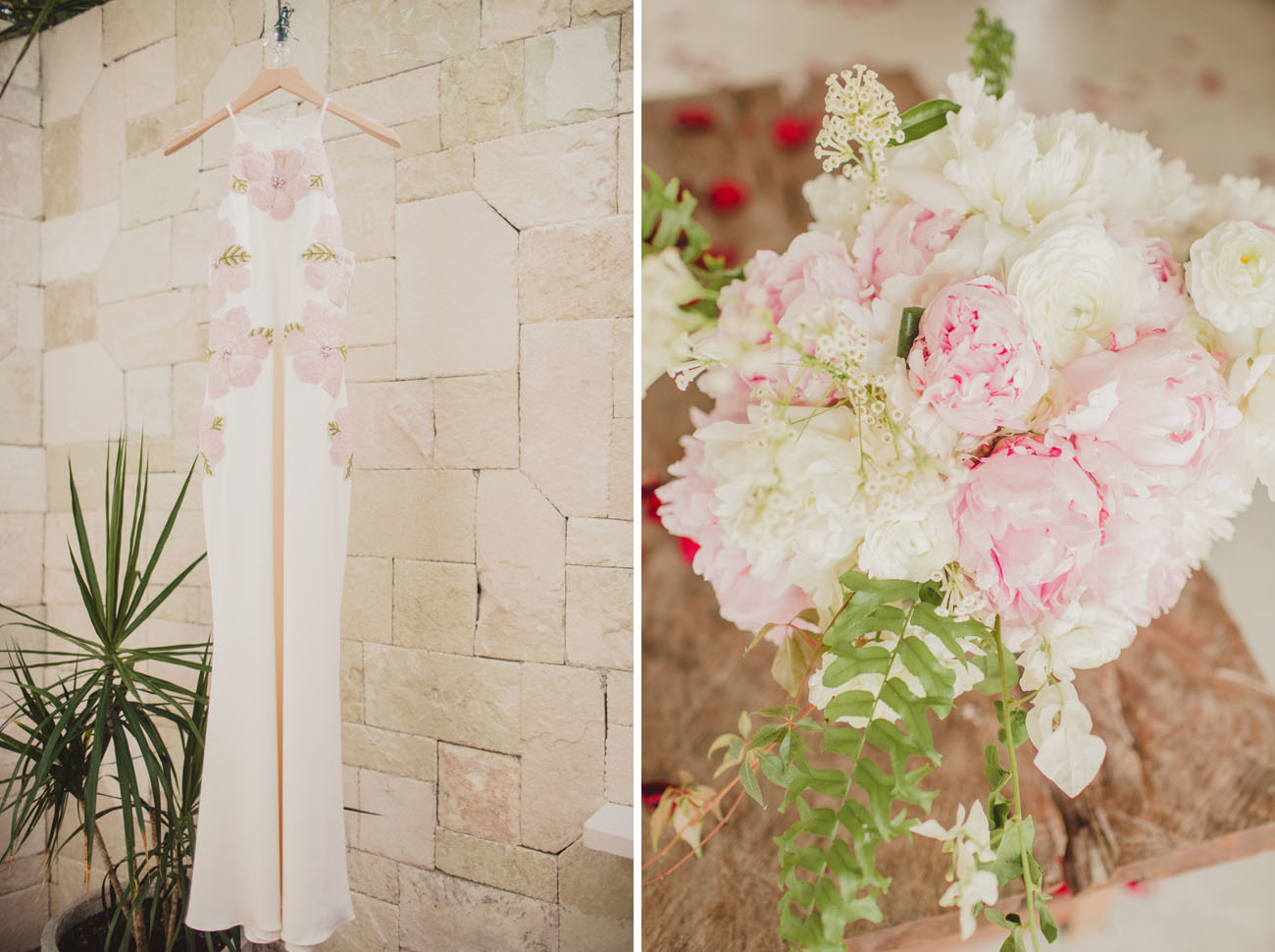 Beautiful bridal dress and bouquet