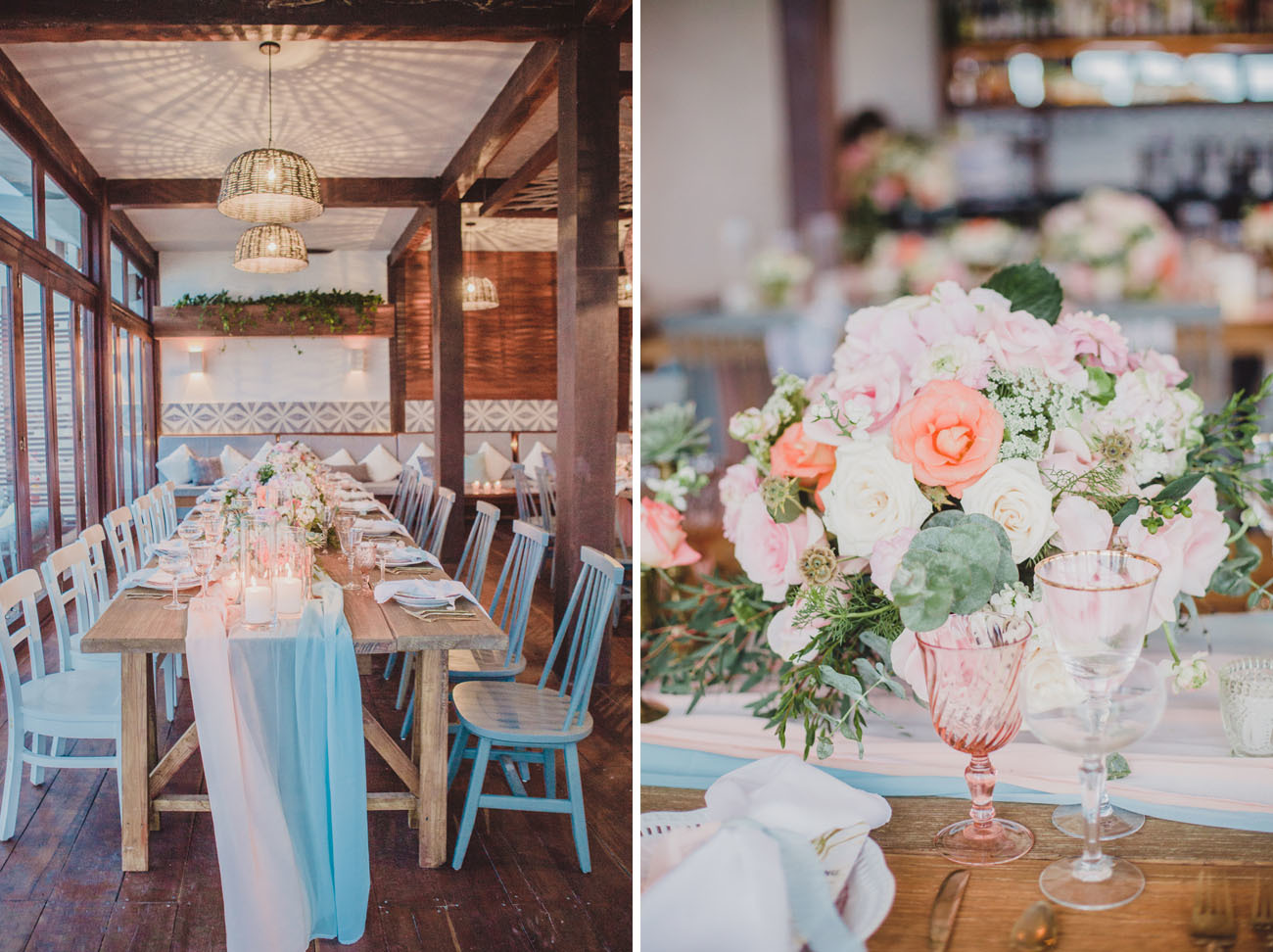 Tropical beach wedding reception details