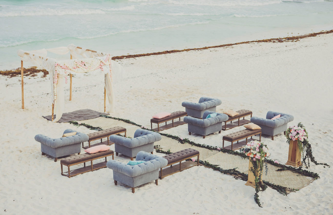 Beach wedding ceremony decor idea