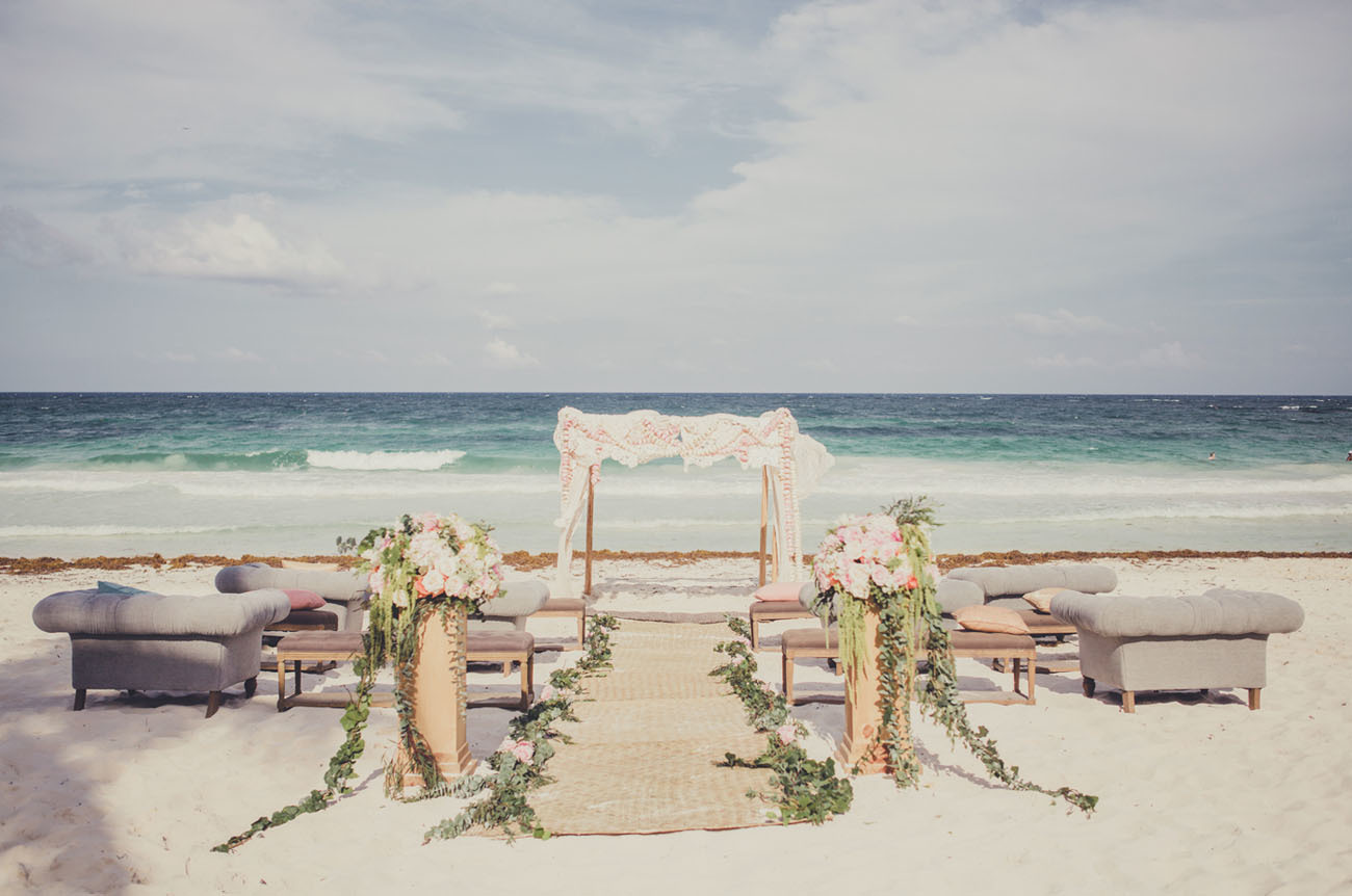 Glamorous beach wedding ceremony decor