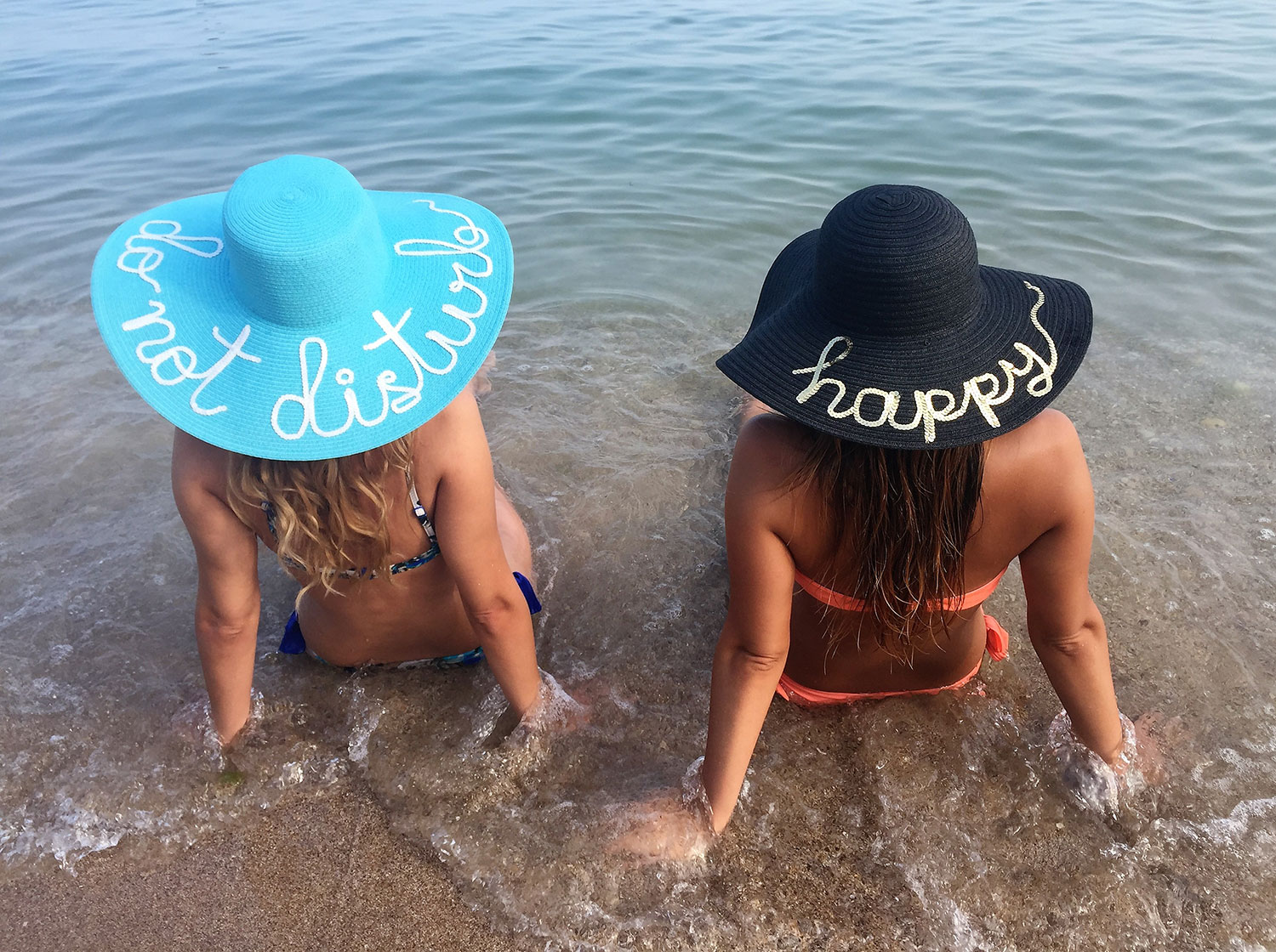 Summer hats with sequins lettering