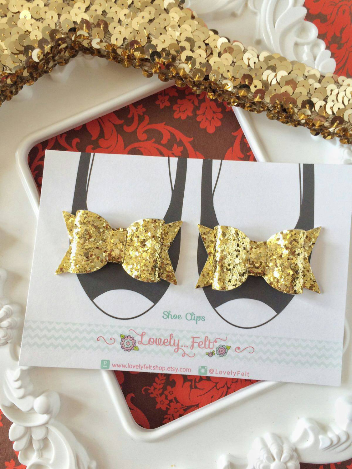 Glitter fabric shoe clips