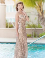 Gold sequins bridesmaid's dress