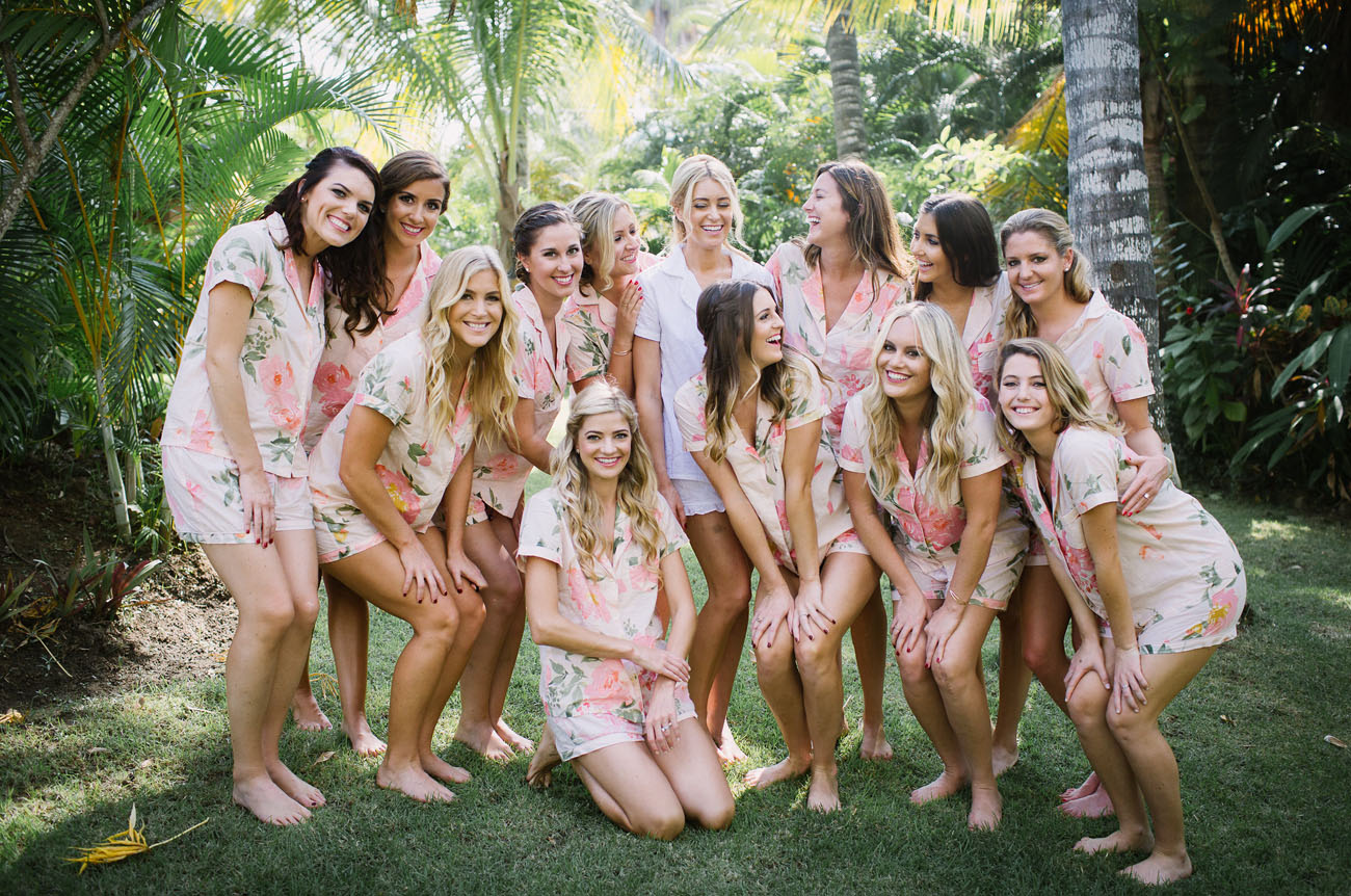Bridesmaids in tropical print robes