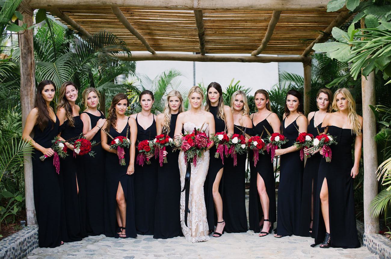 Elegant bridesmaids dresses in black