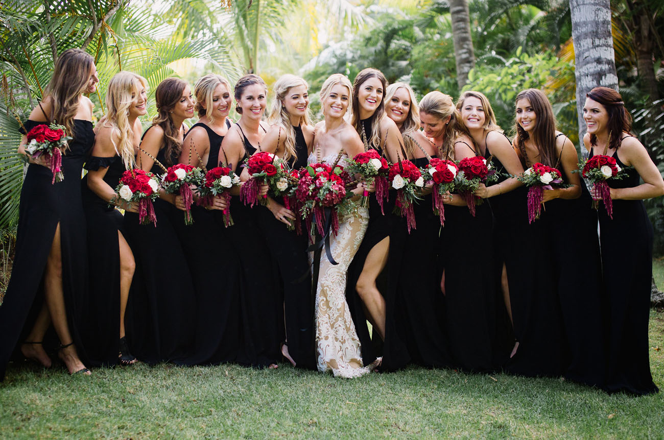 Beautiful bridesmaids in black