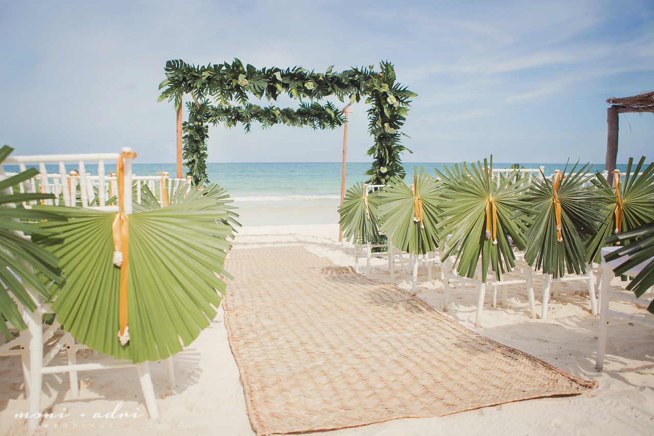 Tropical beach wedding ceremony decor