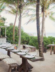 Relaxed beach wedding reception
