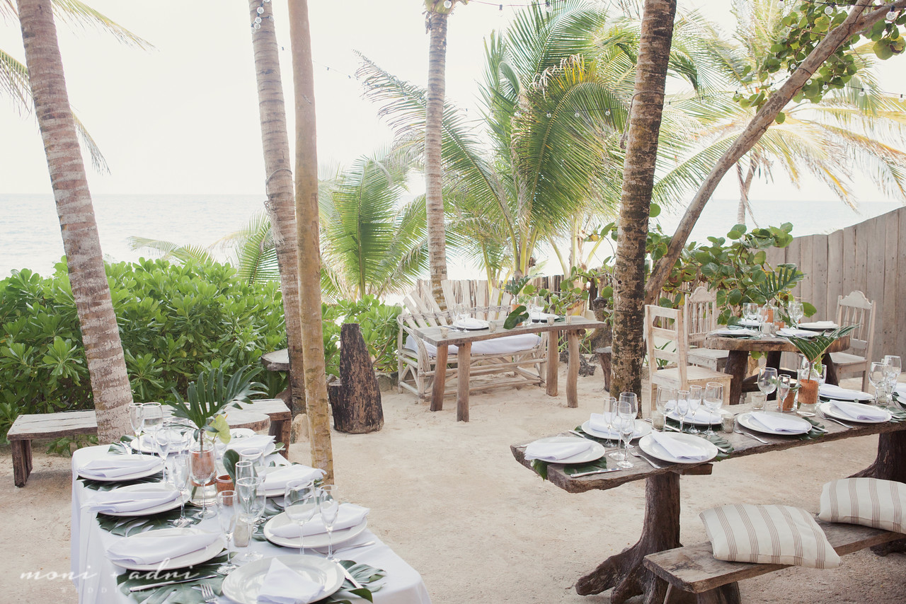 Casual beach wedding reception