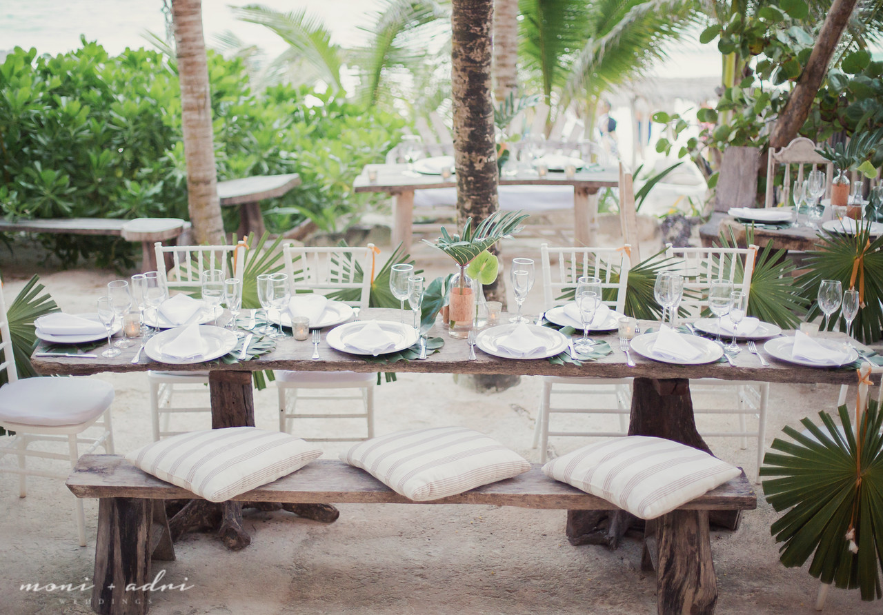 Simple beach wedding reception decor